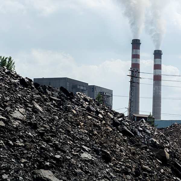 coal pile and smokestacks